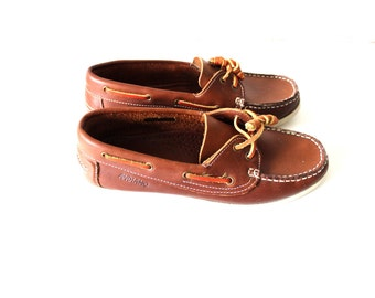 ANDIAMO Loafers Brown Leather Classic Casual Retro Moccasins Flat Boat Shoes