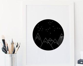 Mountain range Nursery Art Print Scandinavian inspired monochrome modern kids decor art