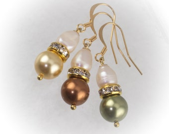 Pearl drop Bridesmaid earrings with freshwater and Swarovski pearls and rhinestone rondelles 219932EBM