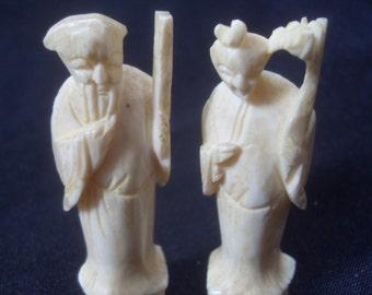 Pair of Antique Oriental Ivory Figures