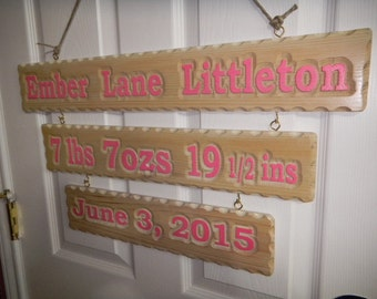 Birth Announcment, Custom Carved, Wood Sign, Birth Sign, Celebration Sign, Permanent Sign, Keep Sake Sign, Various Wood Furniture Finish,