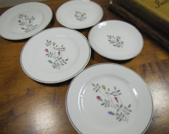Vintage Dishes - Gray Leaves and Buds - (3) Small Plates and (2) Saucers - Made in Japan
