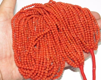 Brilleant 100% Natural AAA Italian Red Coral Roundlle Beads 3MM Approx 20'' Inch Top Quality On Whole Sale Price.
