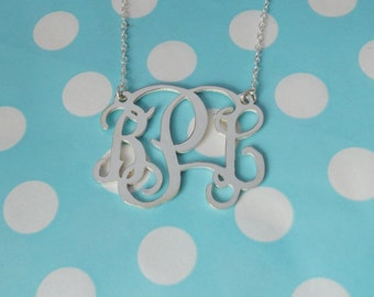 Bridesmaids Gift,1.25 inch Monogram Jewelry,Silver Monogram Initials Necklace,3 Initials Charm Necklace,Cut Out Initials Necklace
