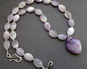 necklace NATURAL AMETHYST. necklace with pendant. GEMSTONES necklace. stones Amethyst gemstone. Tibetan silver. silver color details.