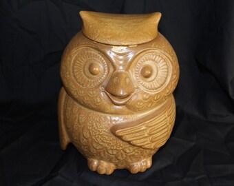 Vintage Ceramic McCoy Owl Cookie Jar, Matt Glaze Finish, 1970s, Hoot Owl, Cookie Jar (P033)