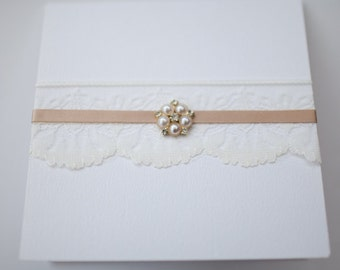 Champagne Gold & Ivory Lace with Vintage Pearl Brooch Pocketfold Invitation