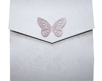 Butterflies Pockefold Wedding Invitation Pink and Silver - Any colour