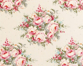 NEW - TILDA  'Sweetheart ' Floribunda Dove White Floral 100% Cotton Fabric Fat Quarter