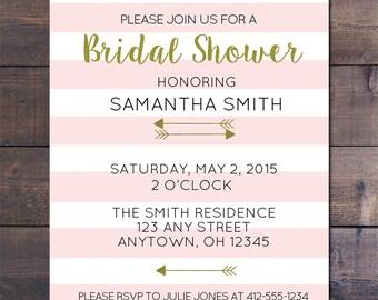 Pink Striped & Gold Bridal Shower Invitation