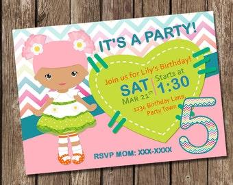 Lalaloopsy Inspired Birthday Invitation - Girl