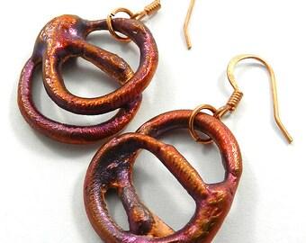 Copper Hoop Earrings, Hammered Copper Earrings, Multiple Hoop Earrings