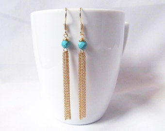 turquoise tassel earrings gold tassel earrings,drop earrings, long earrings,  long tassel earrings, boho tassel earrings, turquoise jewelry