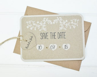Rustic Save The Date tag