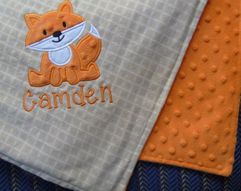 Fox Baby Blanket Fox Applique and Name Included, Personalized Baby Blanket, Fox Blanket, Embroidered Baby Blanket, Minky Baby Blanket