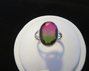 Watermelon Quartz Sterling Silver Ring Size 8.5 (52)