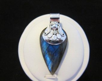 Blue Fire Labradorite Sterling Silver Pendant (108)
