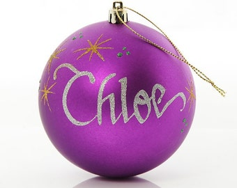Personalised Purple Shatterproof Bauble - Large
