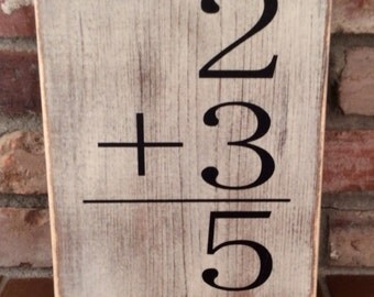 Family addition sign. Flash card addition sign. Photo gallery wall hanging. Number sign, personalize