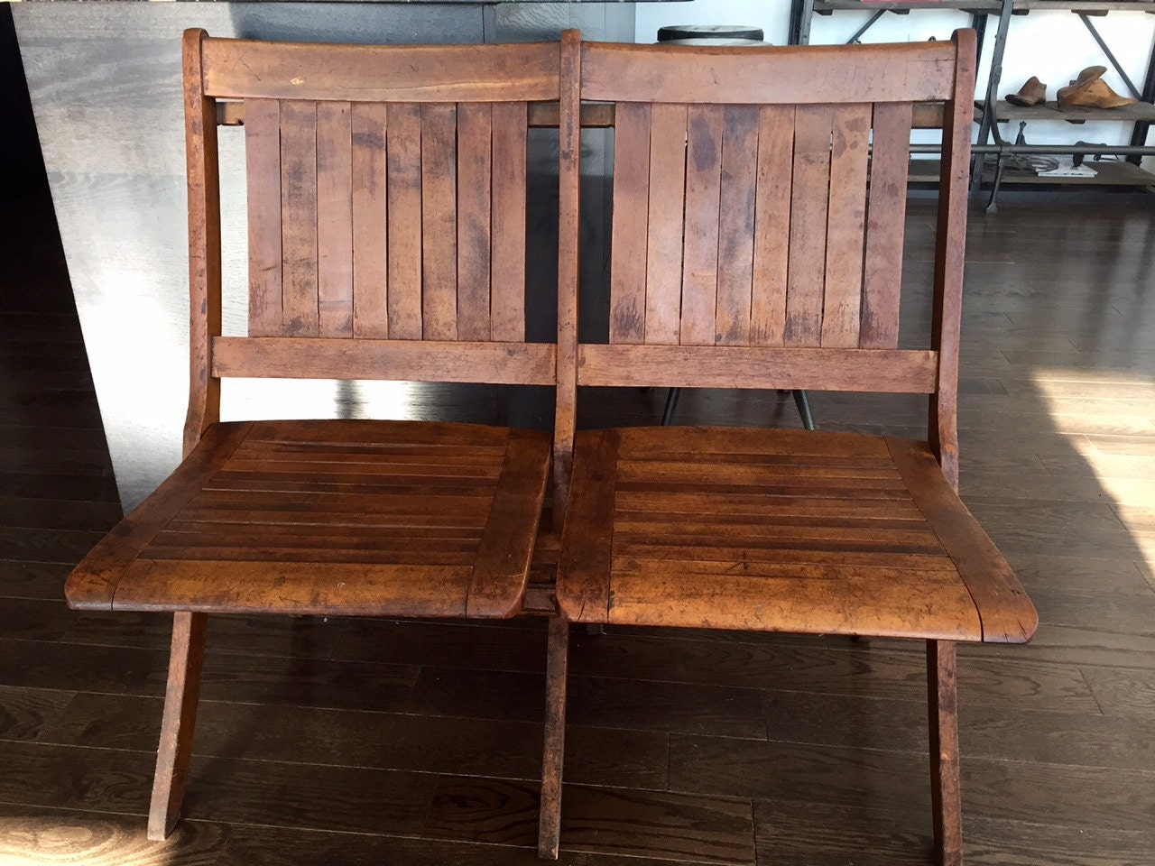 Vintage Tandem Folding Chair Haywood Wakefield Folding Bench