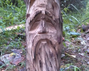 "Hand Carved Cedar Face ""Old Man Of The Woods"""