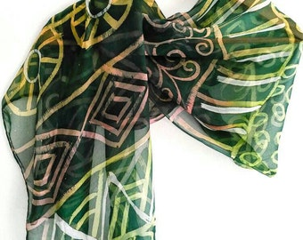 Unique handmade batik Green silk scarf,  Long and large silk scarf, Crinkle silk, Hand painted scarf, Ladies scarves Gift wrapped unique