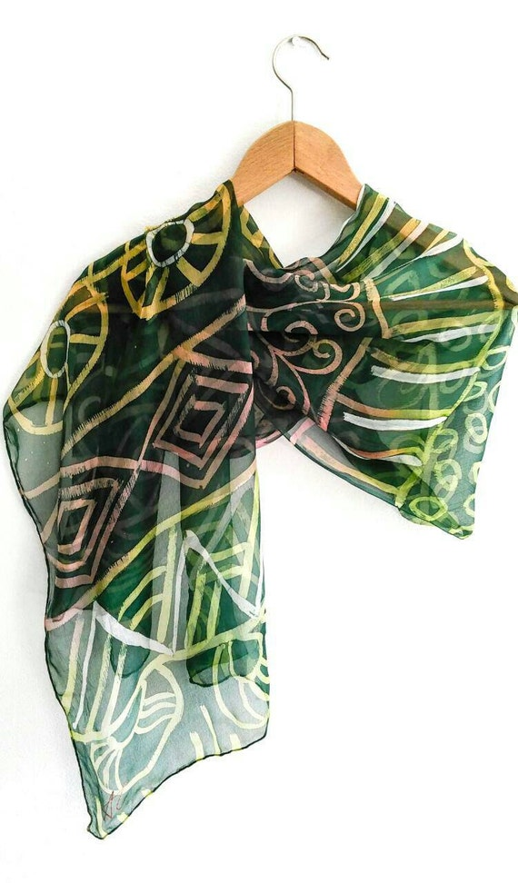 unique handmade batik green silk scarf and large silk