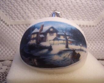 Thomas Kinkade Moonlit Sleigh Ride Christmas Ornament