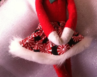 Christmas Shelf Clothes Black Skirt with Red and White Peppermint Candy for ELF PIXIE Fur on Hem NEW