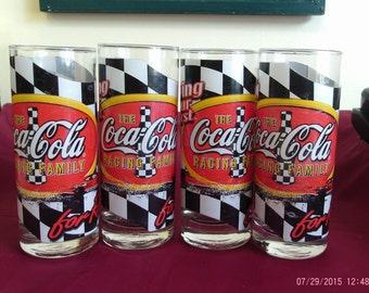 NASCAR The Coca Cola Racing Family Glasses Set of 4