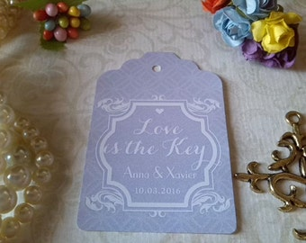 Love is the Key to Happiness Tags, Wedding Thank You Tags, Custom Wedding Tags, Favor Tags. Bridal Tags. Set of 25 to 300 pieces