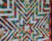 White Star Quilt Exploding with Vibrant Bright Color, Handmade Patchwork Quilt, Machine Pieced and Quilted, Handcrafted Blanket Throw, 66x66