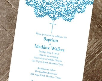 items similar to christening invitation  blue and brown, Baptism invites