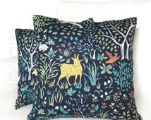 "Robert Allen Folkland Folk Art Animals Forest Tree Navy Blue Decorative Throw Pillow Cushion Cover Case 16"" 18"" 20"" 22"" 24"""