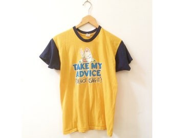 S A L E | Vintage 80's Take My Advice Colorblock 50/50 Tee | M/L