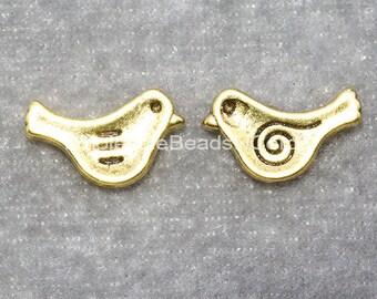 BULK 100 Antiqued Gold Bird Beads - GOLD Bird Spacer Beads 15x10mm  Tibetan Style - Usa Seller Wholesale Beads - Bulk Sale Instant Ship 0298