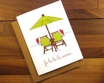 Funny Christmas Card - Tropical Christmas Card - Beach Christmas - Vacation Christmas - Fa La La La Warm