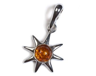 Cognac Amber & Silver Symbol of Hope Pendant with Silver Chain