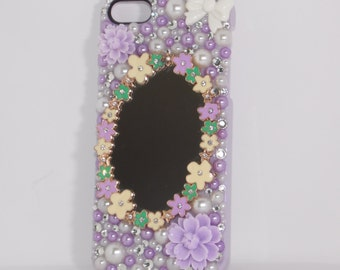iPhone 5/5s Floral Lavender Mirror Phone Case