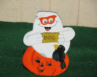 Hallween Ghost with Pumpkin Sign