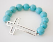 40% OFF CLEARANCE! Turquoise Cross Bracelet, Jewelry, Christian Accessories - Antique Silver - Turquoise