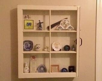 ON SALE Distressed Window Cabinet   Cream Window Cabinet   Window Shadow Box    Shadow Box