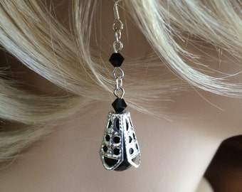 black crystal earrings IX