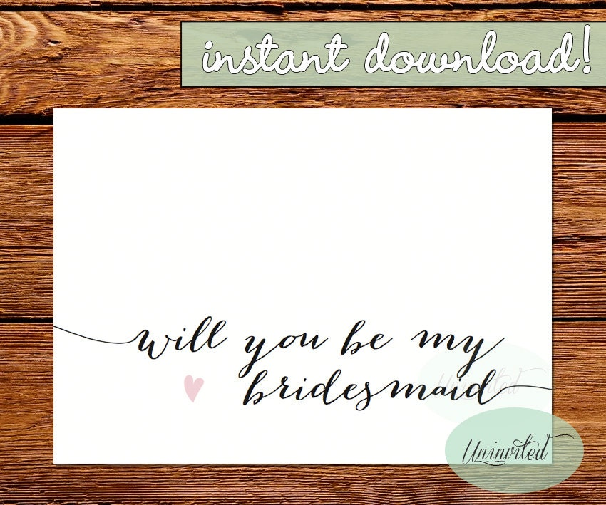 This is an image of Critical Free Printable Bridesmaid Proposal