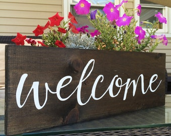 Hand Painted Welcome Sign on Reclaimed Wood    Calligraphy Sign    Welcome Sign    Wedding Sign    Custom Gift