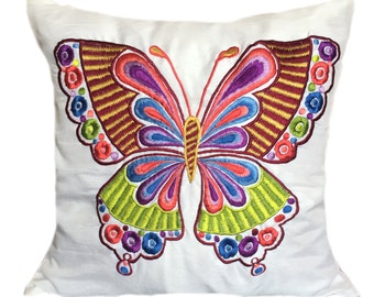 White Butterfly Pillow Multi color Butterfly Pillow Butterfly Decorative Pillow Butterfly Accent Pillow Embroidered Butterfly Shams  Bedding