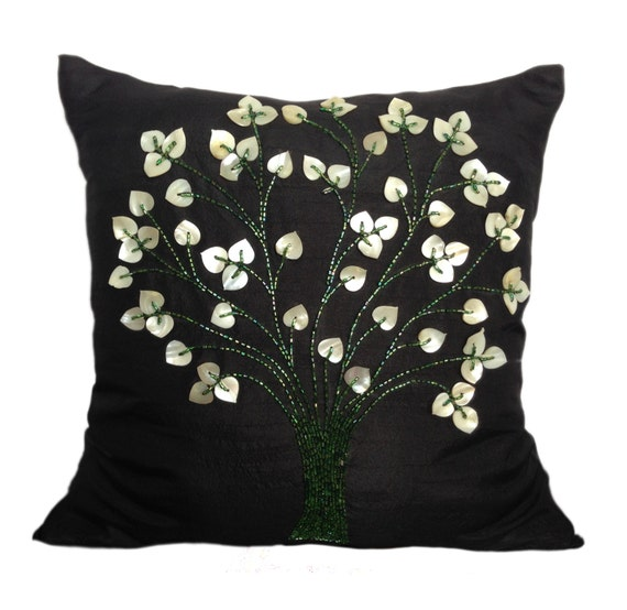 Black Beaded Throw Pillow : Tree Of Life Pillow Black beaded pillow by TheWhitePetalsDecor