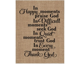 Burlap Print Christian Fabric Inspirational Scripture Art - Thank God (#1717B)