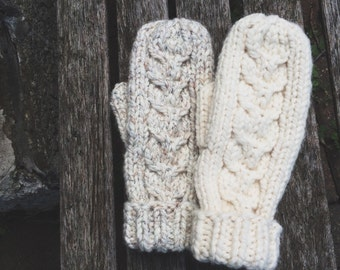Hand Knit Reverse Cable Twist Mittens Cozy Winter Gloves // Wheat and Cream- fleece lining lined