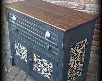 SOLD SOLD!  Shabby chic cabinet, rustic cabinet, distressed cabinet, black cabinet, painted cabinet, small cabinet, antique cabinet